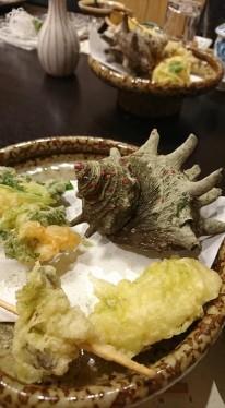 海鮮割烹 朝日(島根県大田市久手町波根西)サザエの天ぷら